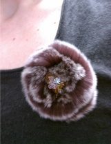 Purple rabbit fur pin
