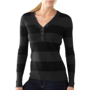 Smartwool henley in grey and black strip. Image from Smartwool.com