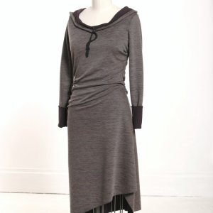 Asymmetrical stripe hooded dress by MiloCreative at Etsy.