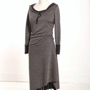 Asymmetrical stripe hooded dress by MiloCreative at Etsy.