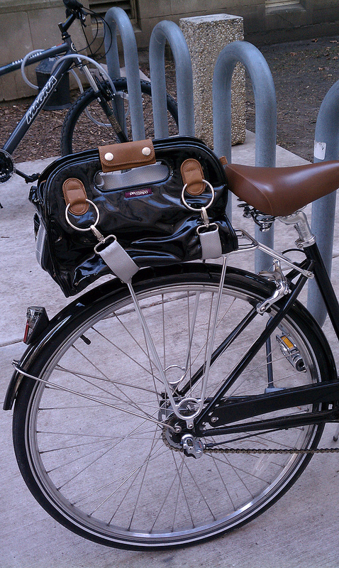 Po Campo Armitage satchel,  strapped to Linus' rear rack, at the university.