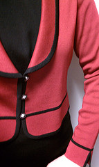 Misook suit jacket. It's more raspberry under fluorescent light, more red under natural light.
