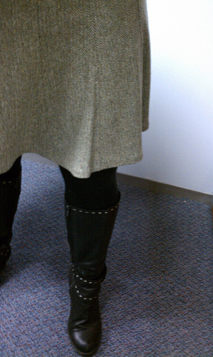 Tweed skirt and *those* boots.