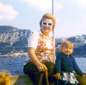 My grandmother in Italy in the 70;s, probably in Ban-Lon pants, although not the yellow ones I was thinking of. I don't seem to have a scanned photo of those.