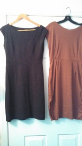 Wool dress on the left; first attempt at a copy in jersey on the right.