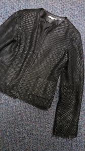 Max Studio basket weave leather jacket