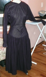 Folkwear Cloister dress (reproduction of a Claire McCardell design) in unknown purple stretch fabric.