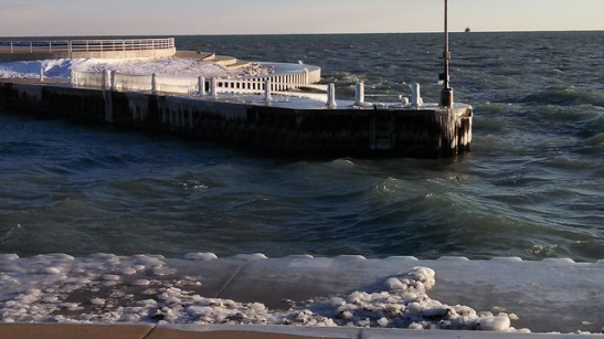 Diversey Harbor is still quite icy.