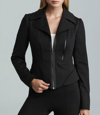 T. Tahari Macey jacket with faux leather trim and quilting detail.