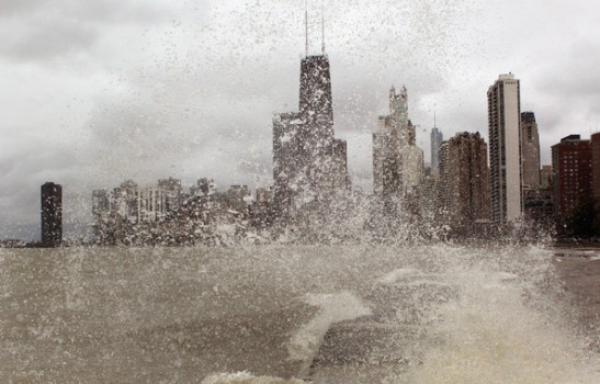 Scott Olson/Getty Images, waves and rain on Lake Michigan