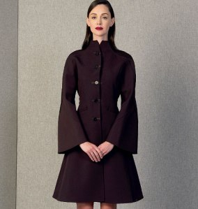Vogue patterns 1419, Ralph Rucci, : Fitted, unlined, A-line coat has funnel neckline, welt pockets, seam detail, darted upper and bias lower sleeves, underarm gusset, no shoulder or side seams, binding for pockets and armholes, and back button belt.