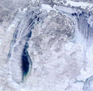 Satellite photo of Lake Michigan from Sunday, February 15. No wonder the beaches are iced over higher than usual.